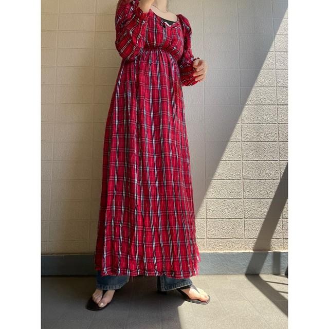 British check long dress