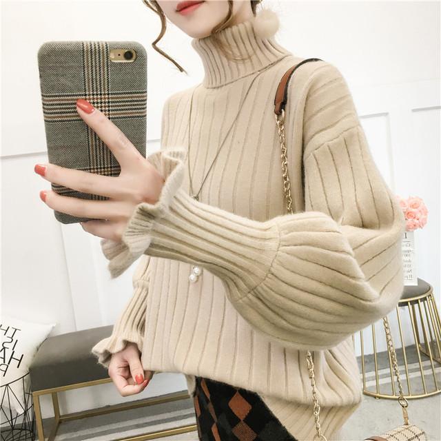 【tops】定番暖かい無地ニットセーター