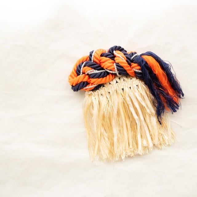 【 一点もの 】パール・フリンジのヘアコーム 縦12cm × 幅10cm ハンドメイドヘアアクセサリー【soie for Hair】 Loufreasy × aK