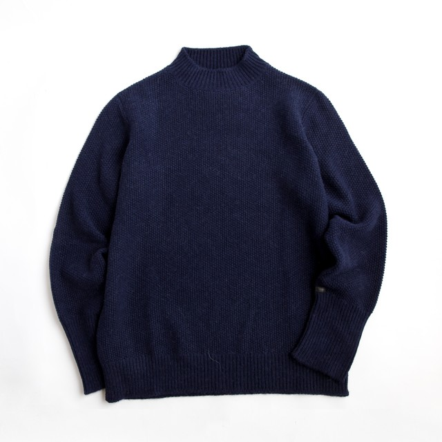 THE INOUE BROTHERS/Low Gauge/Mock Neck Sweater/Navy