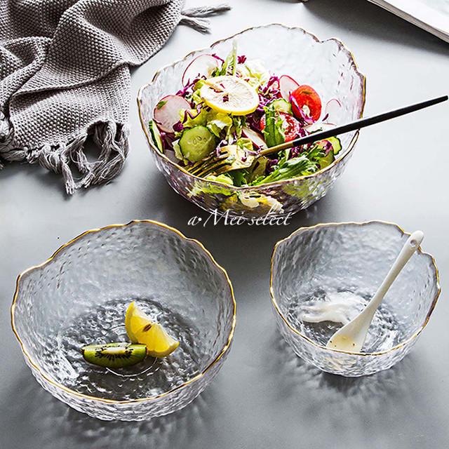 【Sサイズ2枚SET】海外デザイン!! 高級感漂うゴールドライン クリアガラスボール 食器 ディナー ランチ ボウル 洋食器 ホームパーティー 引越し祝い ギフト