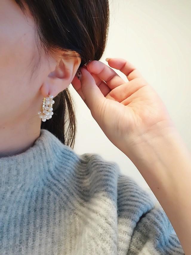 【在庫限り】pearl beads pierce