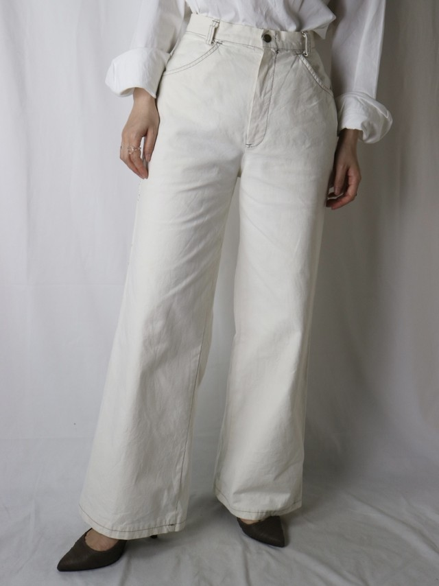 cotton straight wide pants【5663】