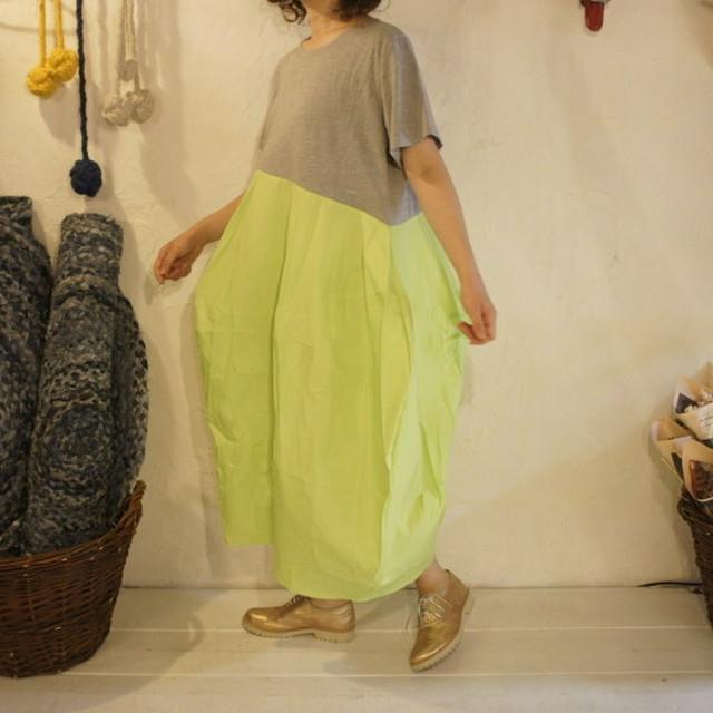 Topanga Fashion バルーンワンピース グレー×ライム