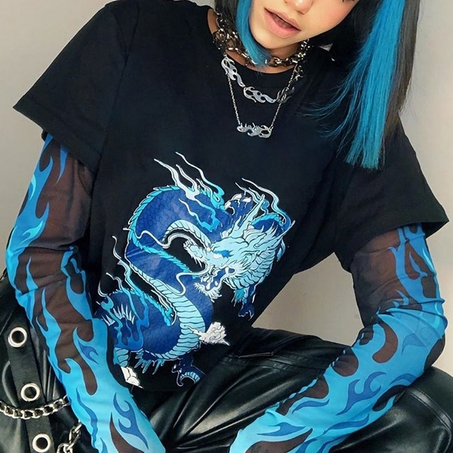 ブルーファイヤードラゴンレイヤードTシャツ(全1色) / HWG416