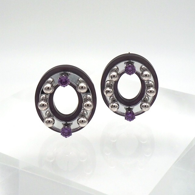 ROSIE MIRROR  EARRINGS  (MARBLE/SILVER ピアス)