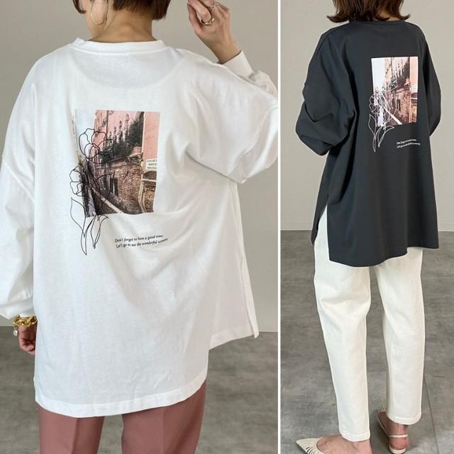 ◆即納◆綿100% バックフォトプリント 長袖 ロンT ロングTシャツ プルオーバー カットソー  OP-t107