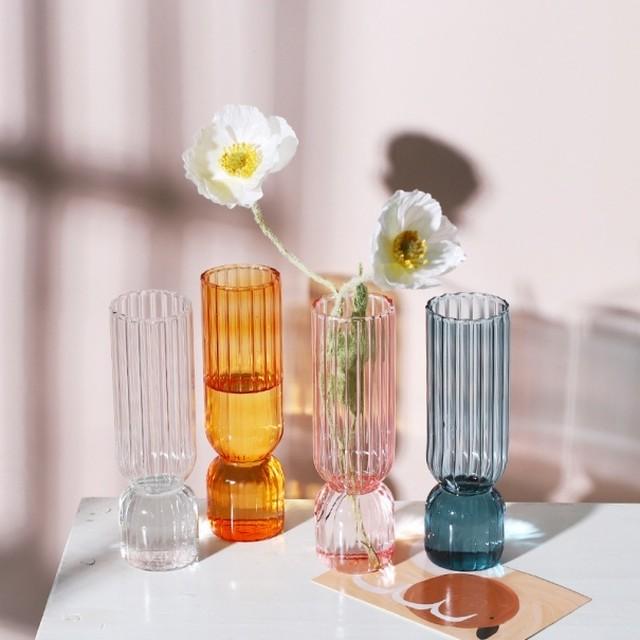 ストライプガラスフラワーベース(花瓶) R1372