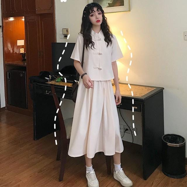 チャイナ風セットアップ 2点 改良唐装 ロング スカート 可愛い 普段着 アプリコット ピンク