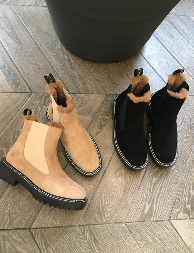 ニットスクエアアンクルブーツ  アンクルブーツ ブーツ 韓国ファッション