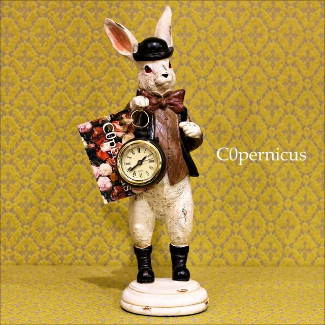 うさぎのクロックオブジェ3アリス雑貨/アンティーク雑貨/浜松雑貨屋C0pernicus