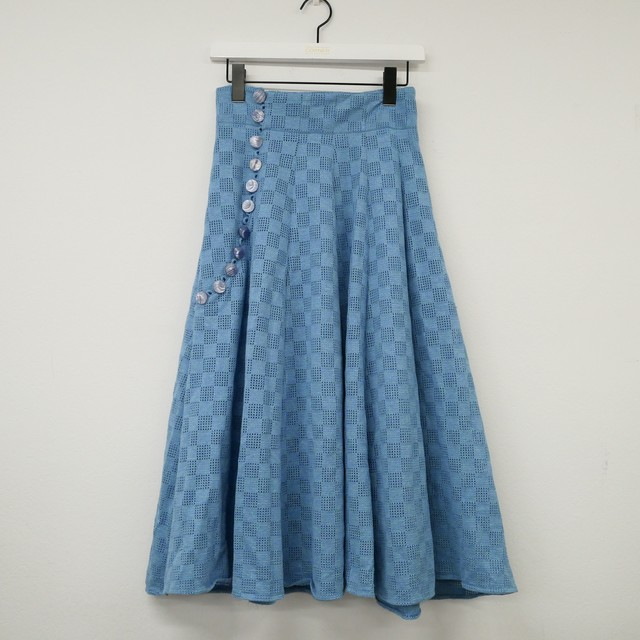 Euro vintage flare skirt - light blue -