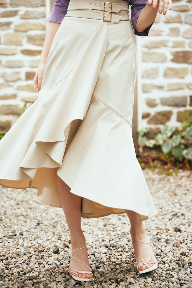 Double Belted Twill Wrap Skirt