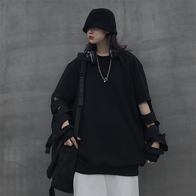 【トップス】ストリート透かし彫り無地Tシャツ40515870