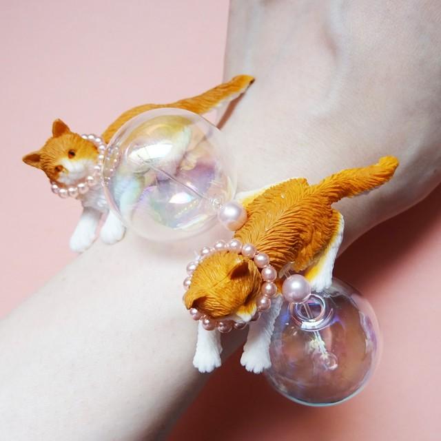Sedmikrasky セドミックラスキー バブル猫ブレスレット / オレンジ×ピンク