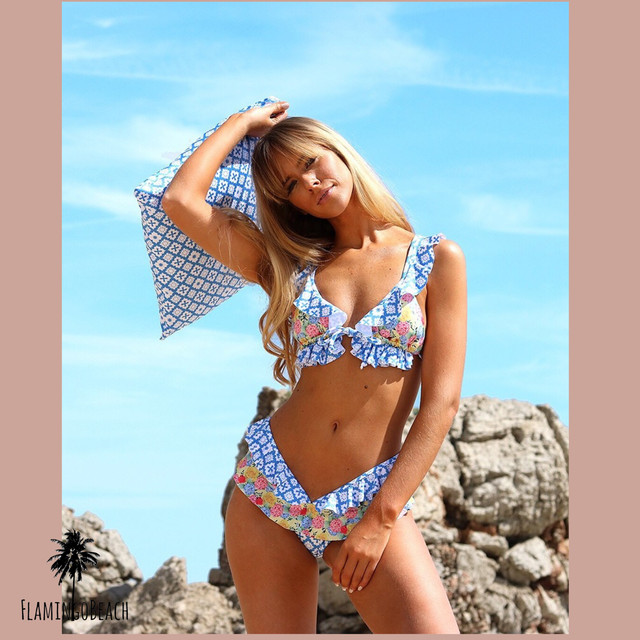 【FlamingoBeach】pattern mix furil bikini ビキニ 41050