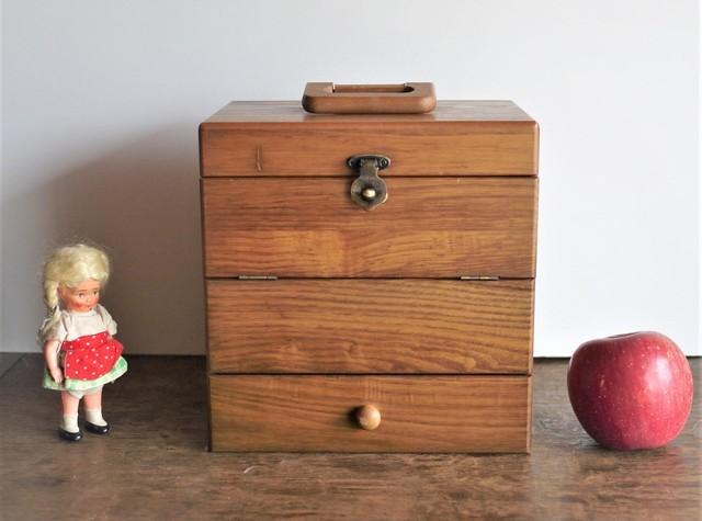 木製バニティボックス コスメボックス 3面鏡 姫鏡台