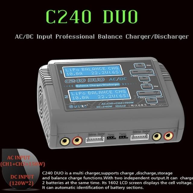 HTRC C240 DUO AC 150W / DC 240Wデュアルチャンネル10A RC LiPo LiHV LiFe Lilon NiCd NiMh Pbバッテリー用バランス充電器放電器