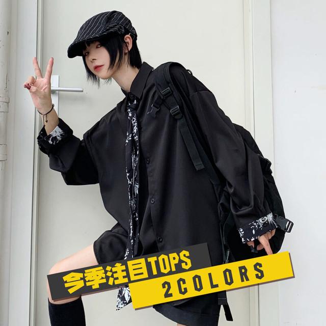 【トップス】超人気カジュアル長袖シングルブレストPOLOネックネクタイ付きシャツ22997707