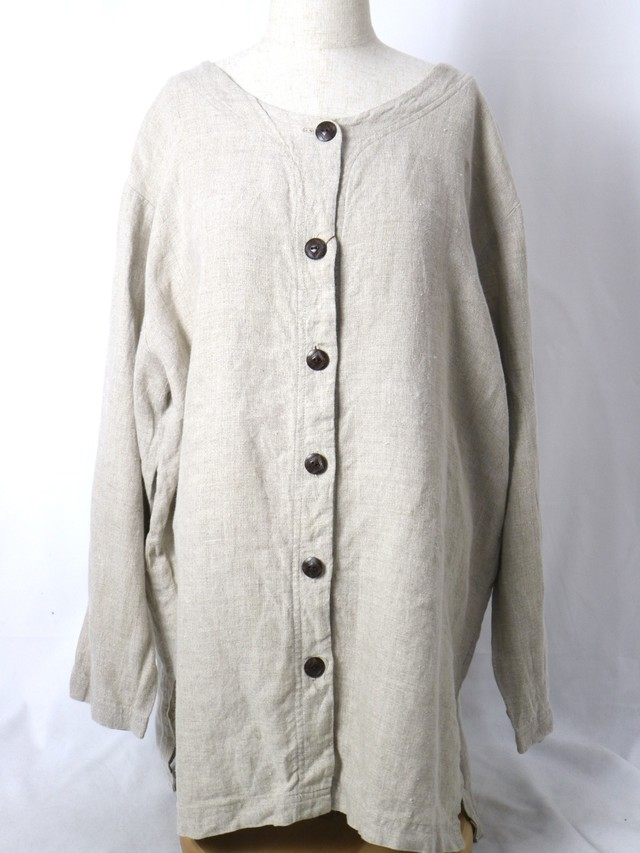 collar less linen shirt【5692】