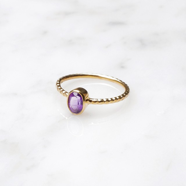 S925 SINGLE PETIT STONE RING AMETHYST