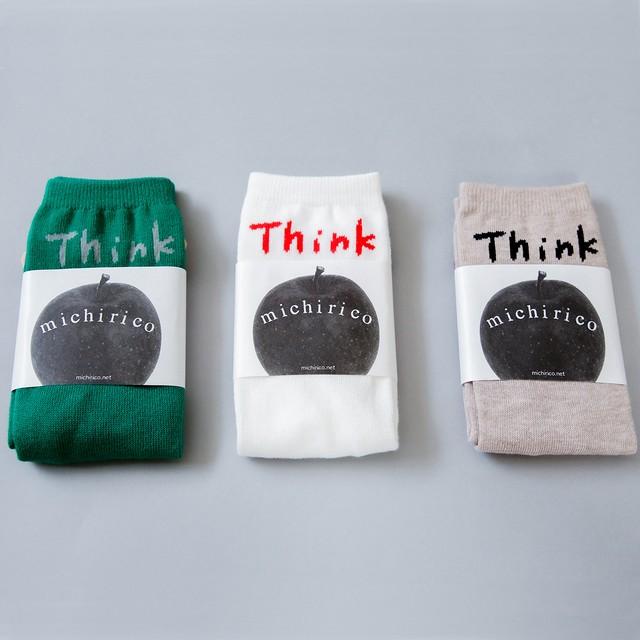 michirico 21SS Think socks (ホワイト/ベージュ/グリーン)(S/M/L)[MR21SS-24]