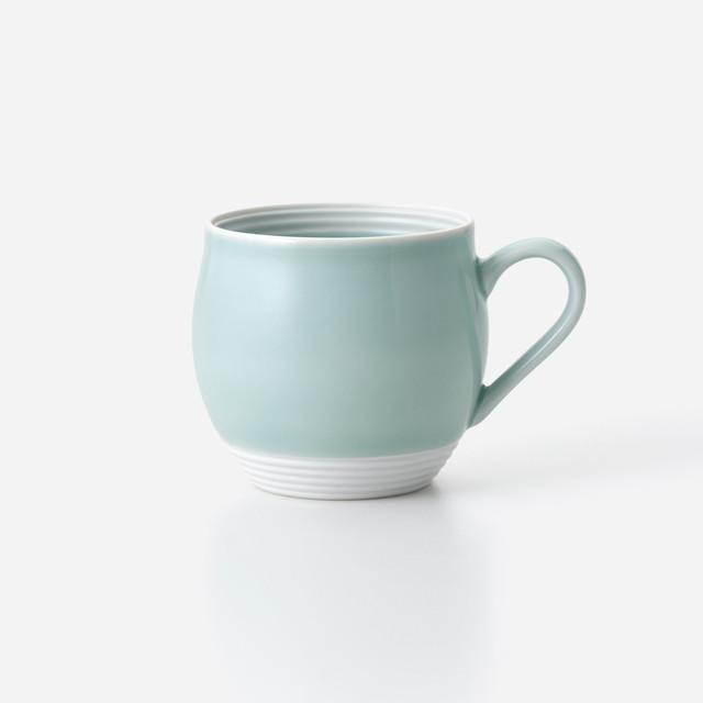 青磁白彩 丸マグカップ