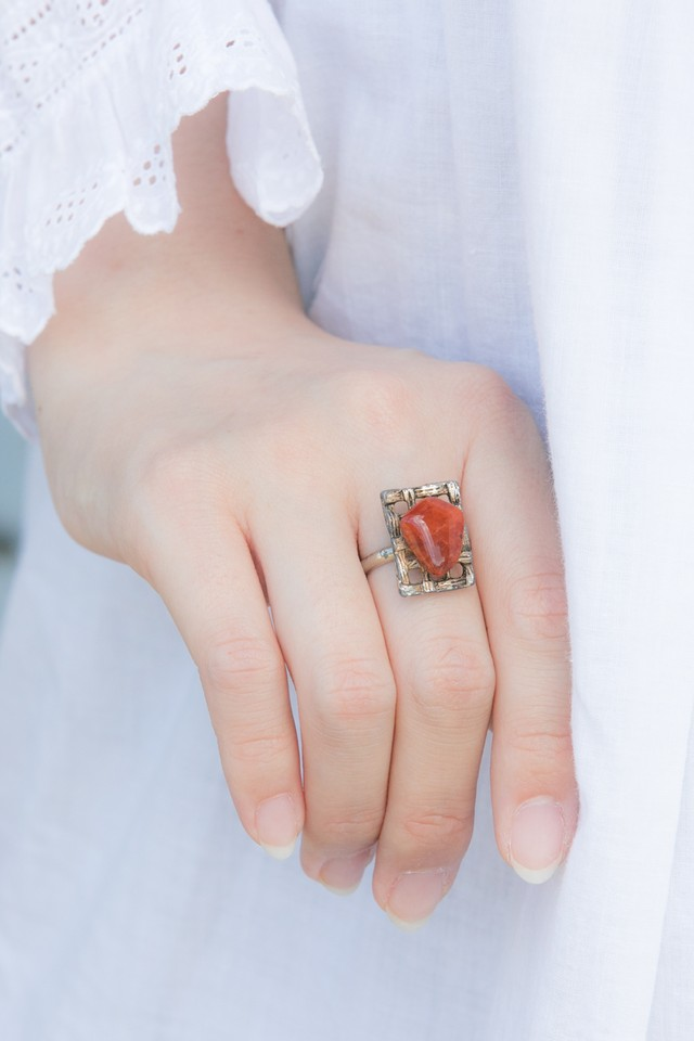 【Run Rabbit Run Vintage 】Orange stone ring