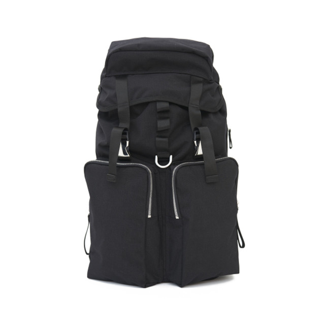 LORINZA Cordura Nylon Double Pocket Backpack Black