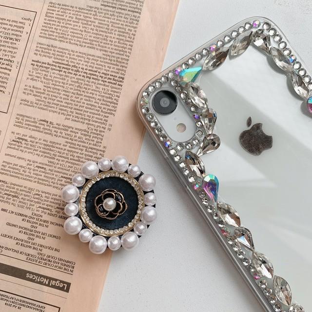 アクセサリー グリップ グリップトック iPhoneケース スマホケース キラキラ 高見え 薔薇モチーフパールグリップ ローズ レディース かわいい 大人 おしゃれ 韓国
