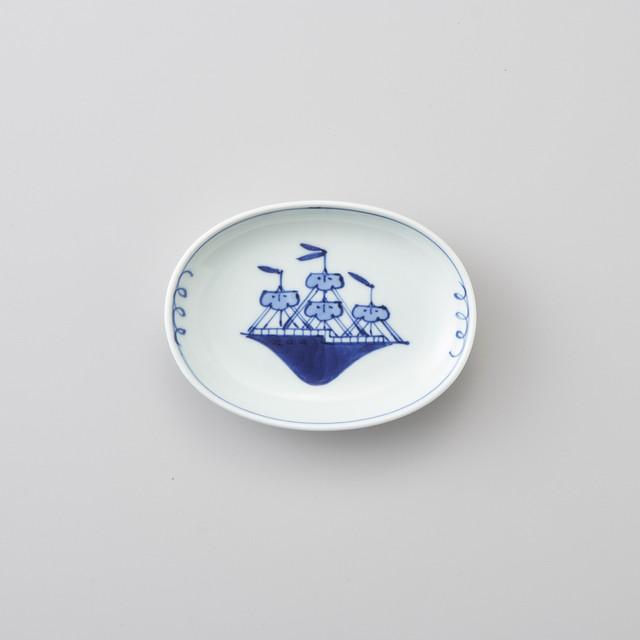 【青花】帆船 小判小皿