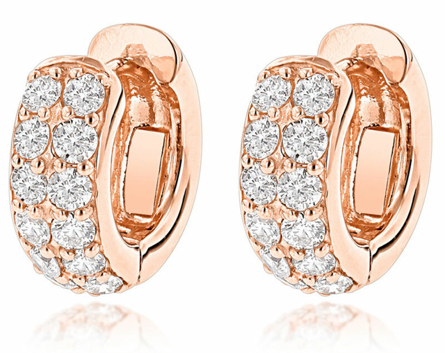 14K ROSE GOLD ROUND DIAMOND HUGGIE EARRINGS HOOPS 0.62CT