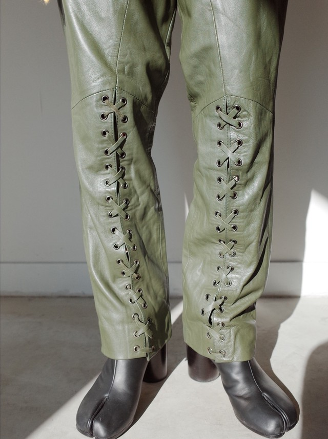 used lace up leather pants