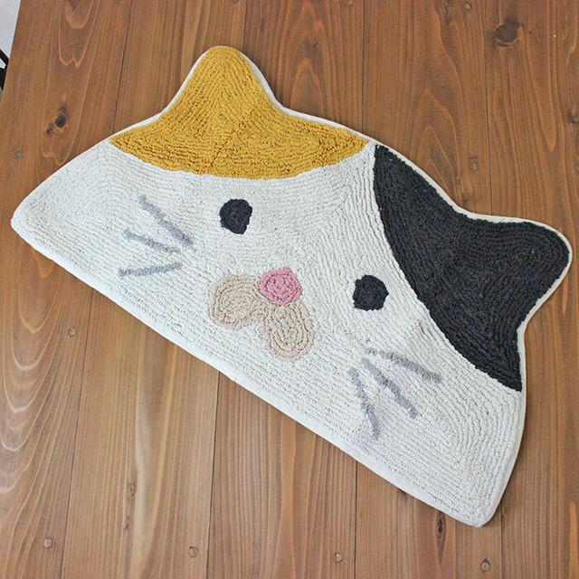 ミケネコマット セミサークル アニマル【三毛猫 猫雑貨 ネコ 14217-873】