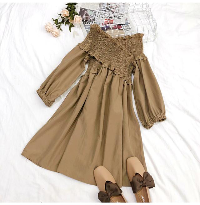 【dress】デートワンピース女子力アップ全4色エレガントパフスリーブ