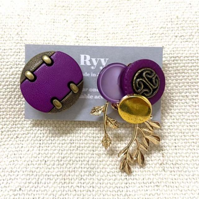 ボタン イヤリング 紫