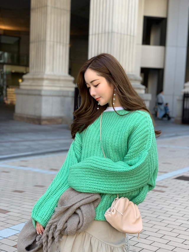 【50%OFF SALE】volume sleeve knit / green  (即納)