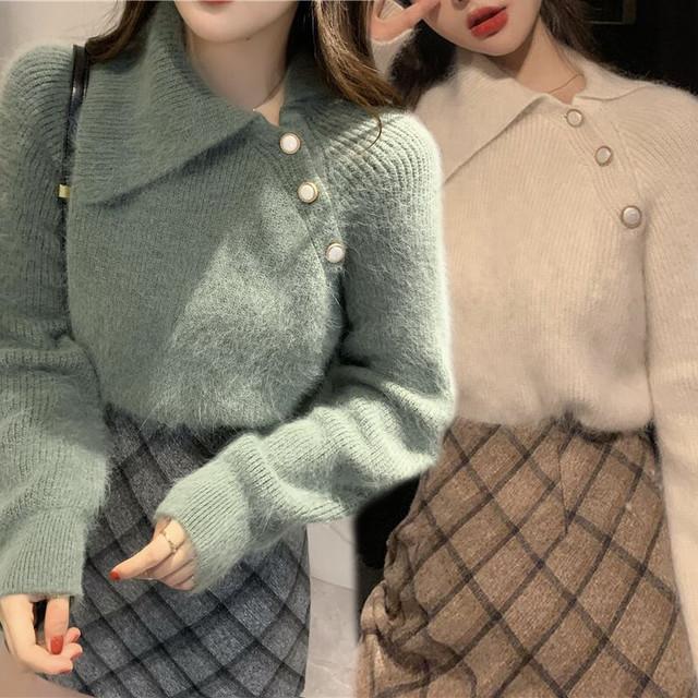 【2カラー】 サイドボタン 斜め襟 シャギーニット セーター 韓国ファッション レディース ニットセーター もこもこ ガーリー / Oblique collar loose net thick knit sweater (DTC-608121018902)