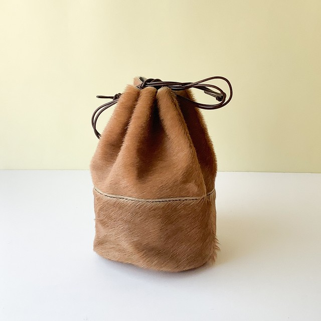 Arts & Crafts - Horse Fur Draw Strings Pouch / S - キャメル