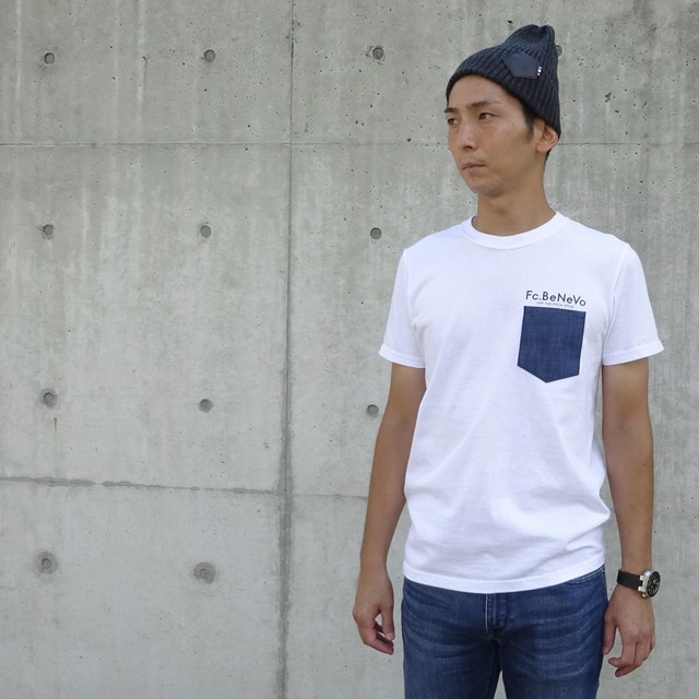 DENIM POCKET T-SHIRTS(WHITE)