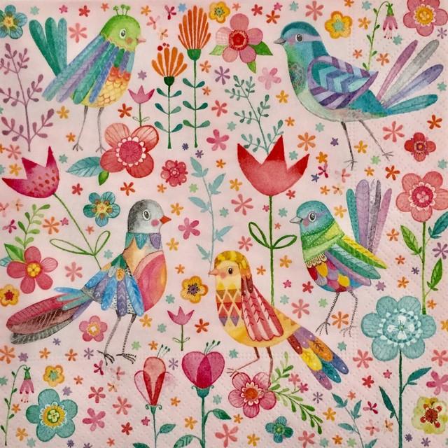 【Paper+Design】バラ売り2枚 ランチサイズ ペーパーナプキン MAGICAL BIRDS ピンク