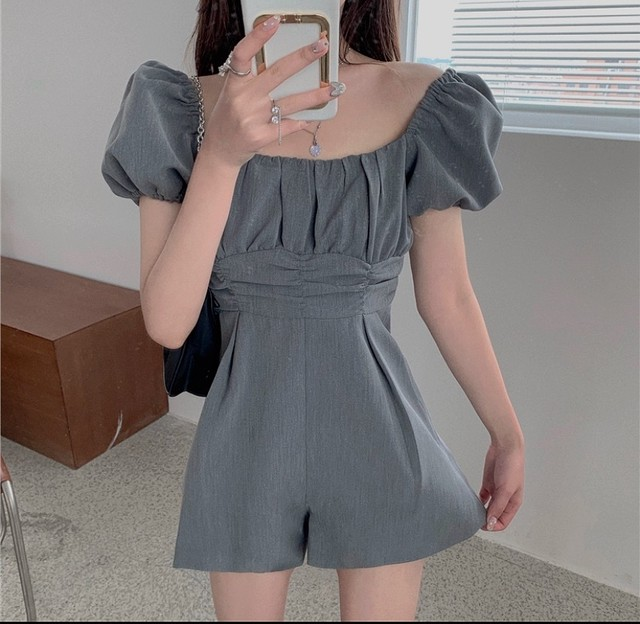 vintage puff rompers 2color