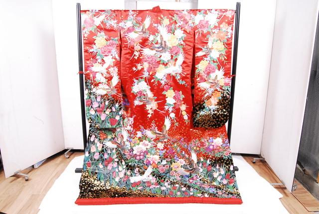 1164 美品 マイセン花園 着物 正絹 打掛 振袖 赤 鶴 身丈185cm 裄丈65.5cm