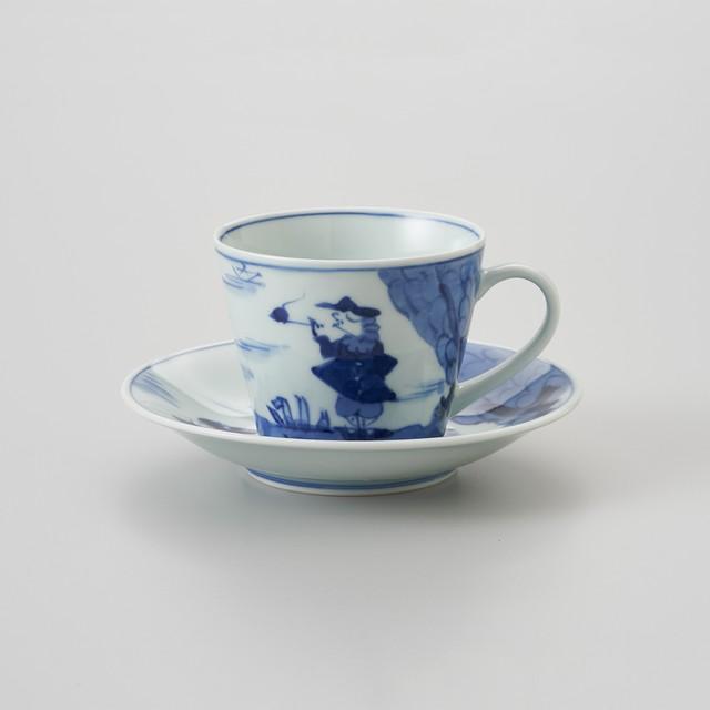 【青花】二人異人 ソバ型コーヒー碗皿