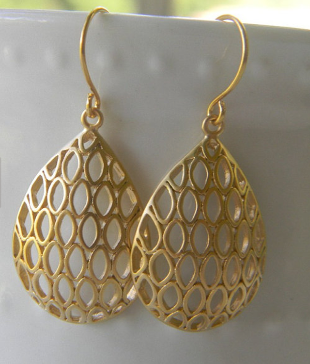 Gold Filigree Teardrop Dangle Drop Earrings