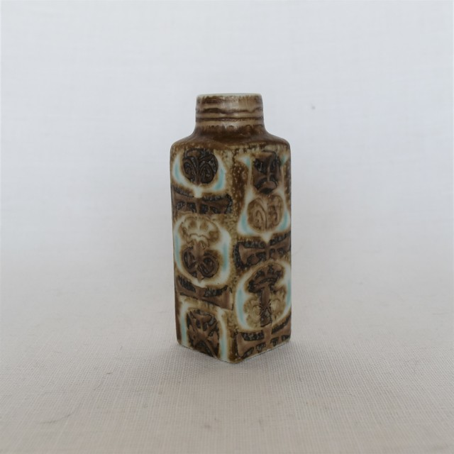 "【Vintage】Royal Copenhagen/ Baca/Nils Thorsson /Square Vase ""Brown"""