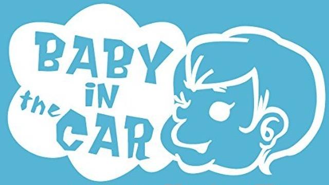 引続きセール主力商品20%OFF!  【カッティングシート】Baby in the Car  -赤ちゃんが車に乗ってます- ホワイト【Baby】