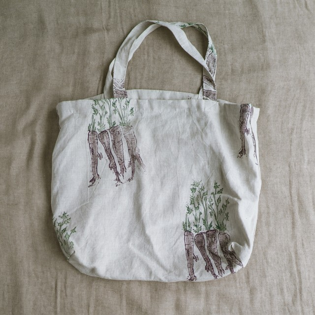 Large linen tote bag purple carrot|ラージリネントートバッグ パープルキャロット