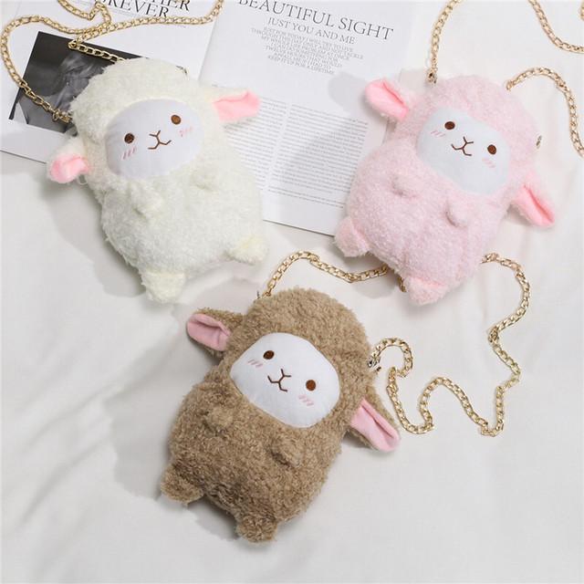 ミニ ファーバッグ 羊 ラム 韓国ファッション バッグ かわいい ぬいぐるみ ショルダーバッグ 斜め掛け ハンドバッグ メッセンジャーバッグ ミニバッグ / Cute little chain messenger bag (DTC-607851692957)