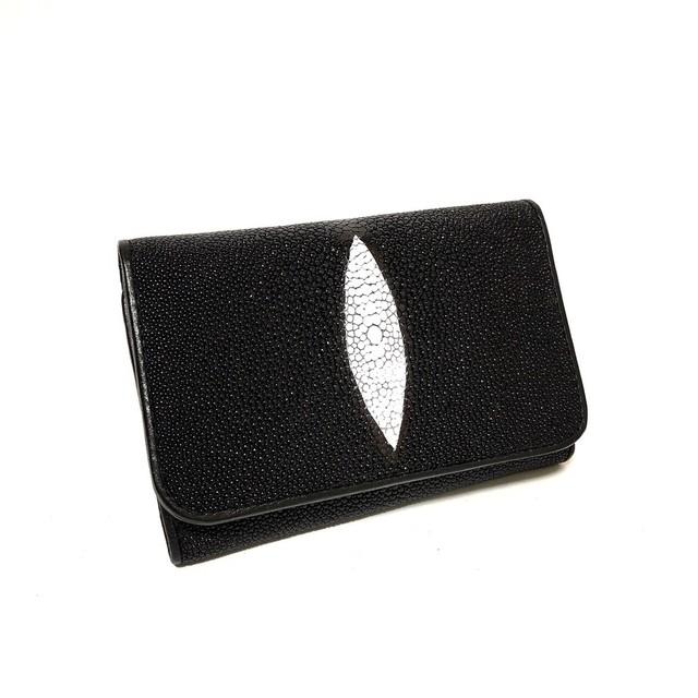 スティングレイ エイ革 本革 折財布 スナップボタン BLACK